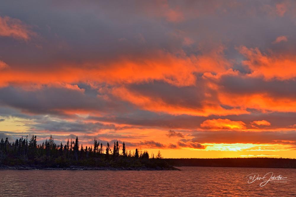 Sunset over Ennadai Lake, Arctic Haven Lodge, Nunavut, Canada