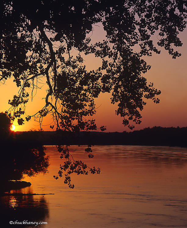 Sunset over the Missouri at Indian Cave State Park in Nebraska