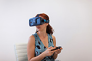 GUADALAJARA, MEXICO - MAY 11, 2017: A woman proves a Go device for virtual reality with smartphones from ImmersiON-VRelia, Inc. Rodrigo Cruz for The New York Times