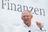 18 AUG 2012, BERLIN/GERMANY:<br /> Wolfgang Schaeuble, CDU, Bundesfinanzminister, auf der Buehne, Tag der offenen Tuer, Bundesministerium der Finanzen<br /> IMAGE: 20120818-01-001<br /> KEYWORDS: Wolfgang Schäuble