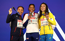 Great Britain's Shelayna Oskan-Clarke (centre), France's Renelle Lamote (left), and Ukraine's Olha Lyakhova with their medals after the Women's 800m Final during day three of the European Indoor Athletics Championships at the Emirates Arena, Glasgow.