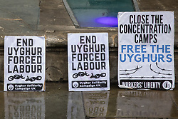 Uyghur Solidarity Campaign UK placards are pictured at a protest opposite the Chinese embassy in support of the Uyghur people's struggle for freedom on 5th August 2021 in London, United Kingdom. Activists highlighted the Chinese government's persecution and forced assimilation of Uyghurs, Kazakhs and other indigenous people in East Turkestan and Xinjiang and called for them to have the right to determine their own futures through a democratic process.