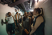 April 2, 2016; Indianapolis, Ind.; The Seawolf women's basketball team waits to take the floor for their practice session at Bankers Life Fieldhouse.