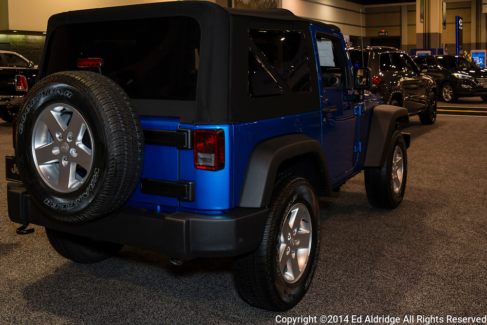 CHARLOTTE, NORTH CAROLINA - NOVEMBER 20, 2014: Jeep Wrangler on display during the 2014 Charlotte International Auto Show at the Charlotte Convention Center.