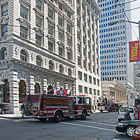 Firetrucks attend to an emergency in downtown San Francisco, California.