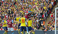Arsenal Goalkeeper Wojciech Szczęsny catches the ball during the The FA Cup match between Arsenal and Aston Villa at Wembley Stadium, London, England on 30 May 2015. Photo by Phil Duncan.