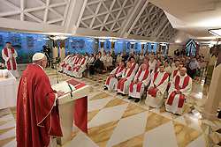 Pope Francis on September 14, 2016 celebrated Mass at Santa Marta, Vatican, for the French priest of Rouen Jacques Hamel who was murdered while celebrating Mass in his Parish Church by two men swearing allegiance to the so-called Islamic State in July. Pope said Jacques Hamel is part of the chain of Christian martyrs that runs throughout the history of the Church. To the congregation gathered at Santa Marta and which included Archbishop Dominique Lebrun of Rouen, along with 80 other pilgrims from the diocese, Pope Francis said that 'to kill in the name of God is satanic'. Photo by ABACAPRESS.COM
