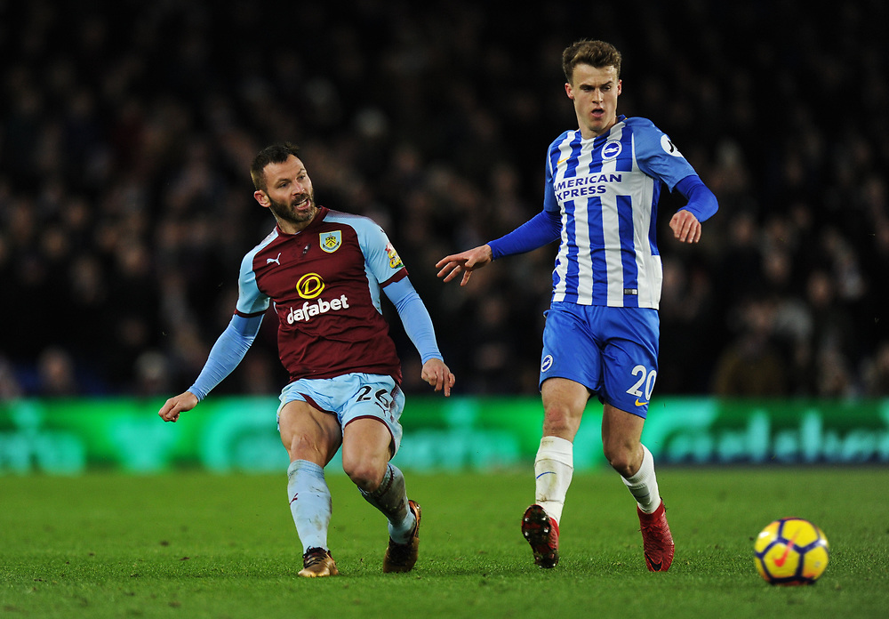 Burnley's Phillip Bardsley holds off the challenge from Brighton & Hove Albion's Solly March<br /> <br /> Photographer Ashley Western/CameraSport<br /> <br /> The Premier League - Brighton and Hove Albion v Burnley - Saturday 16th December 2017 - The Amex Stadium - Brighton<br /> <br /> World Copyright © 2017 CameraSport. All rights reserved. 43 Linden Ave. Countesthorpe. Leicester. England. LE8 5PG - Tel: +44 (0) 116 277 4147 - admin@camerasport.com - www.camerasport.com
