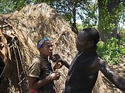 Wande and Mokoa. The Hadza camp of Senkele.