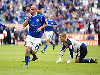 Photo: Chris Ratcliffe.<br />Leicester City v Ipswich Town. Coca Cola Championship. 12/08/2006.<br />Iain Hume celebrates putting Leicester into a 3-1 lead Shane Supple, the Ipswich keeper is stranded in the background.