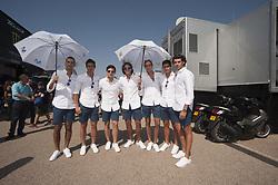 September 23, 2017 - AlcañIz, Teruel, Spain - Grid boys in pit line of the Gran Premio Movistar de Aragon, Circuit of Motorland, Alcañiz, Spain. Saturday, 23rd september, 2017. (Credit Image: © Jose Breton/NurPhoto via ZUMA Press)