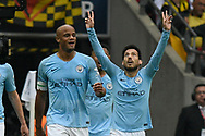Goal - David Silva (21) of Manchester City celebrates scoring a goal to give a 1-0 lead during the The FA Cup Final match between Manchester City and Watford at Wembley Stadium, London, England on 18 May 2019.