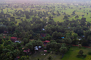 Aerial view of Sangkat Ampil, east of Angkor Wat, Siem Reap, Cambodia.