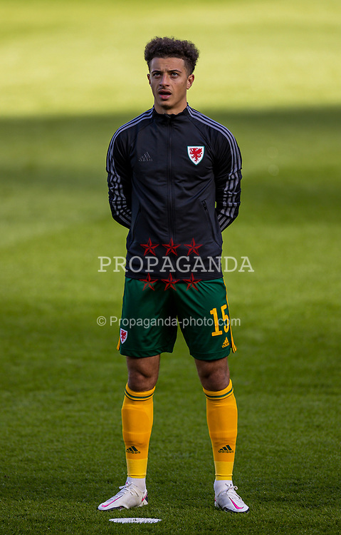 DUBLIN, REPUBLIC OF IRELAND - Sunday, October 11, 2020: Wales' Ethan Ampadu lines-up for the national anthem before the UEFA Nations League Group Stage League B Group 4 match between Republic of Ireland and Wales at the Aviva Stadium. The game ended in a 0-0 draw. (Pic by David Rawcliffe/Propaganda)