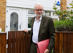 April 30, 2019 - London, London, UK - London, UK. JEREMY CORBYN, the Labour Party leader leaves his north London home this morning carrying a red folder with ''EU Issues March 2019'' written on the outside. The Labour Party's governing body, the National Executive Committee (NEC) are expected to meet later this morning to consider the European election manifesto and Jeremy Corbyn will face pressure to commit Labour to a confirmatory referendum on any Brexit deal. (Credit Image: © Vickie Flores/London News Pictures via ZUMA Wire)