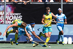 (L-R) Daniel Beale of Australia, Birenda Lakra of India, Tim Howard of Australia during the Champions Trophy finale between the Australia and India on the fields of BH&BC Breda on Juli 1, 2018 in Breda, the Netherlands.
