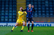 AFC Wimbledon defender Steve Seddon (42) and Rochdale midfielder Matthew Lund (21)  during the EFL Sky Bet League 1 match between Rochdale and AFC Wimbledon at the Crown Oil Arena, Rochdale, England on 21 November 2020.