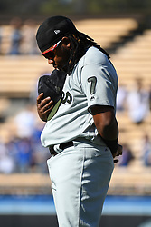 May 28, 2018 - Los Angeles, CA, U.S. - LOS ANGELES, CA - MAY 28: Philadelphia Phillies third baseman Maikel Franco (7) stands for the national anthem during a MLB game between the Philadelphia Phillies and the Los Angeles Dodgers on Memorial Day, May 28, 2018 at Dodger Stadium in Los Angeles, CA. (Photo by Brian Rothmuller/Icon Sportswire) (Credit Image: © Brian Rothmuller/Icon SMI via ZUMA Press)