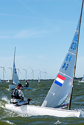 Wietze Zetzema in action by the Open Dutch Sailing Championships on September 18, 2020 in Medemblik, Netherlands
