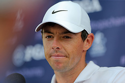August 9, 2018 - St. Louis, Missouri, United States - Rory McIlroy speaks to the media after the first round of the 100th PGA Championship at Bellerive Country Club. (Credit Image: © Debby Wong via ZUMA Wire)