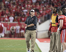 September 16, 2017 - Houston, TX, USA - Houston Cougars head coach Major Applewhite on the sideline during the first quarter of the college football game between the Houston Cougars and the Rice Owls at TDECU Stadium in Houston, Texas. (Credit Image: © Scott W. Coleman via ZUMA Wire)