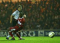 Fotball<br /> England 2004/2005<br /> Foto: SBI/Digitalsport<br /> NORWAY ONLY<br /> <br /> Middlesbrough v Fulham, Barclays Premiership, Riverside Stadium, Middlesbrough 19/04/2005.<br /> Fulham's David McBride (L) scores his team's first goal.