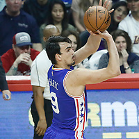 11 March 2017: Philadelphia 76ers forward Dario Saric (9) takes a jump shot during the LA Clippers 112-100 victory over the Philadelphia Sixers, at the Staples Center, Los Angeles, California, USA.