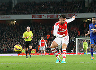 Arsenal's Olivier Giroud scoring his sides opening goal<br /> <br /> Barclays Premier League- Arsenal vs Manchester United - Emirates Stadium - England - 22nd November 2014 - Picture David Klein/Sportimage