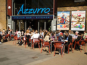 People sitting outside on the street, Azzurro Italian restaurant bar, Waterloo, London