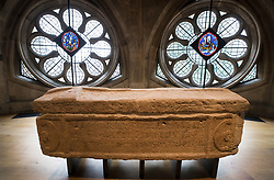 © Licensed to London News Pictures. 29/05/2018. London, UK.  A Roman sarcophagus, dated AD 300-400 is displayed in the new Queen's Diamond Jubilee Galleries at Westminster Abbey. The recently finished galleries situated in 13th century triforium, 52 feet above the abbey floor, will display treasures not seen by the public before and tell the story of abbey's thousand-year history. Photo credit: Peter Macdiarmid/LNP