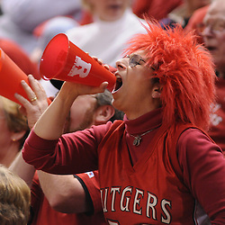 Feb 24, 2009; Piscataway, NJ, USA; A fan cheers during the second half of Rutgers' 71-52 victory over Cincinnati at the Louis Brown Athletic Center.