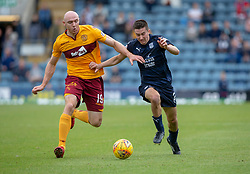 Motherwell's Conor Sammon and Dundee's Cemeron Kerr. Dundee 1 v 3 Motherwell, SPFL Ladbrokes Premiership game played 1/9/2018 at Dundee's Kilmac stadium Dens Park
