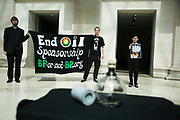 "The art activist protest group Bp-or-not-Bp make an artistic intervention at the British Museum to highlight the fact that the oil company BP sponsors a show called Sunken Cities at the Museum May 17 2016. (photo by Kristian Buus/In Pictures via Getty Images) A bottle with crude oil from the oil dissaster in the Guld of Mexico, caused by BP and a tear gas canister used in Egypt is on display surrounded by the many small black stones. The press release states:  ""The lines of stones in the artwork represent the 340 people forcibly disappeared in the four months prior to BP signing a $12bn dollar deal with the Sisi regime – a rehash of a deal it had made with the Mubarak regime. The total number disappeared under the Sisi regime may run into thousands. Teargas is a weapon that was used both to repress popular protest in Tahrir Square during the revolution but also those who actively opposed BP's operations in the country. """