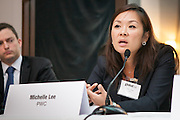 Michelle S Lee, Partner, PwC, on a panel during Global Investor/ISF presents the Pan-American Securities Finance Forum held on September 26, 2013 at the Renaissance New York Hotel 57. The panel title Pan-American regulatory update spoke about attractive lending opportunities exist in markets beyond the borders of the US, from Canada to Mexico<br /> and Brazil, but lenders face additional regulatory challenges. The panel discussed US regulation such as the Fatca as well as initiatives in the wider region that will impact lenders.