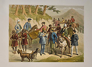 Wounded Officers at Simla Lithograph from the book Campaign in India 1857-58 Illustrating the military operations before Delhi ; 26 Hand coloured Lithographed plates. by George Francklin Atkinson Published by Day & Son Lithographers to the Queen in 1859