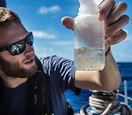 North Atlantic Ocean, October 2014.<br /> Marine biologist Adam Porter examines a sample recovered from a trawl, days away from land, on board the Sea Dragon. © Chiara Marina Grioni