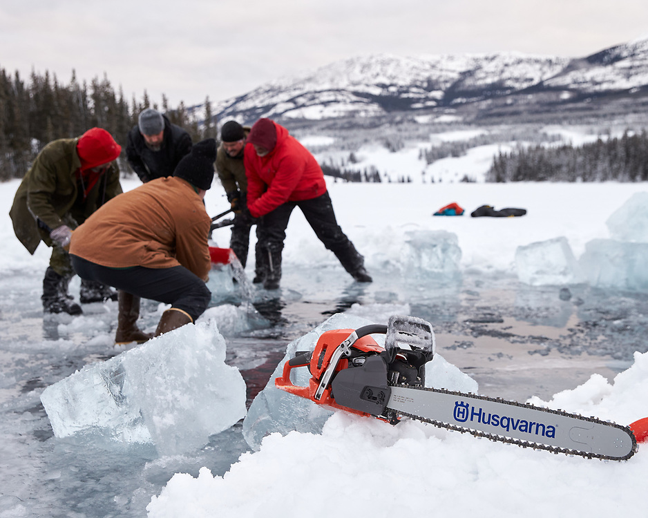 Yukon Ice Water Swimmers at Chadburn Lake to cut a new, larger swimming pool. The location of the new pool puts it an estimated 40 feet off the lake bottom.