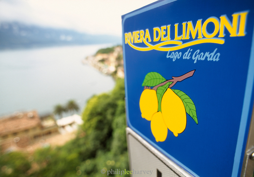 Local town sign, Garda,  Limonde Sul Garda, Lake Garda, Italy