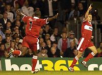 Picture: Henry Browne.<br />Date: 25/08/2004.<br />Fulham v Middlesborough FA Barclays Premiership.<br /><br />Szilard Nemeth celebrates after scoring Borough's second goal