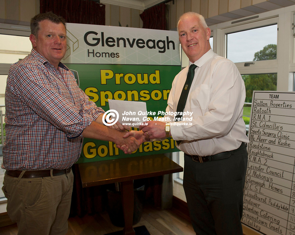 21-06-19. Meath GAA Annual Golf Classic 2019 at Knightsbrook Hotel and Golf Resort, Trim. Co. Meath.<br /> John Kavanagh (Right), Vice Chairman, Meath GAA pictured presenting 6th. Prize to David Henry of John Keegan Quarries.<br /> Photo: John Quirke / www.quirke.ie<br /> ©John Quirke Photography, Unit 17, Blackcastle Shopping Cte. Navan. Co. Meath. 046-9079044 / 087-2579454.