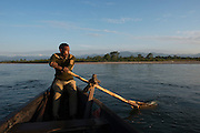 Canoe & Park Guard<br /> Jai Bhoralli River<br /> Nameri Wildlife Reserve<br /> Assam<br /> North East India
