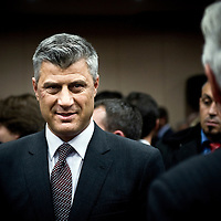 """Pristina, Kosovo 16 February 2011<br /> Kosovo Prime Minister Hashim Thaçi is seen during a government venue the day before of the 3rd anniversary of the Independence of Kosovo.<br /> According to NATO documents that came to the hands of the British newspaper The Guardian, the newly re-elected Kosovo Prime Minister Hashim Thaçi is highly involved in organized crime in the country.<br /> The European Commission said it was taking reports of war crimes and organized crime """"extremely seriously,"""" but added that it was seeking concrete evidence.<br /> Photo: Ezequiel Scagnetti"""