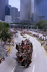 Stock photo of a giant dragon car passing below during the parade