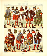 Ancient Scottish fashion and lifestyle, 18th century from Geschichte des kostums in chronologischer entwicklung (History of the costume in chronological development) by Racinet, A. (Auguste), 1825-1893. and Rosenberg, Adolf, 1850-1906, Volume 5 printed in Berlin in 1888