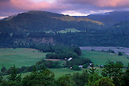 Morning light over pasture in valley near Garberville, Humboldt County, California