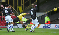 Photo: Frances Leader.<br />Watford v Sheffield Wednesday. Coca Cola Championship.<br />19/11/2005.<br />Watford's Clarke Carlisle (C) scores the first goal of the match against Watford.