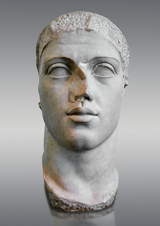Roman sculpture bust of  Alexander Severus made between 222 and 235 AD and excavated from Ostia. Roman Emperor from 222 to 235. Alexander was the last emperor of the Severan dynasty. As emperor, Alexander's peace time reign was prosperous. However militarily Rome was confronted with the rising Sassanid Empire. He managed to check the threat of the Sassanids, but when campaigning against Germanic tribes of Germania, Alexander attempted to bring peace by engaging in diplomacy and bribery. This alienated many in the legions and led to a conspiracy to assassinate and replace him. . The National Roman Museum, Rome, Italy .<br /> <br /> If you prefer to buy from our ALAMY PHOTO LIBRARY  Collection visit : https://www.alamy.com/portfolio/paul-williams-funkystock/roman-museum-rome-sculpture.html<br /> <br /> Visit our ROMAN ART & HISTORIC SITES PHOTO COLLECTIONS for more photos to download or buy as wall art prints https://funkystock.photoshelter.com/gallery-collection/The-Romans-Art-Artefacts-Antiquities-Historic-Sites-Pictures-Images/C0000r2uLJJo9_s0