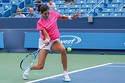August 15, 2018 - Mason, Ohio, USA - Garbine Muguruza (ESP) hits a forehand shot during Wednesday's second round of the Western and Southern Open at the Lindner Family Tennis Center, Mason, Oh. (Credit Image: © Scott Stuart via ZUMA Wire)