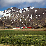 Idyllic farm situated in front of Hafursfell mountain on the Snaefellsnes Peninsula in western Iceland.