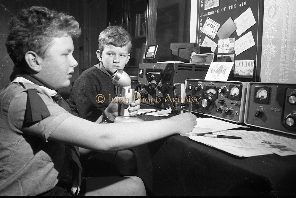 """Jamboree on the Air for Catholic Boy Scouts of Ireland. Catholic Scouts of Ireland, calling """"C-O Jamboree"""" during the """"Jamboree of the Air"""". The Jamboree is a link up of the world's ten million scouts with the aid of amateur radio operators..22.10.1966"""